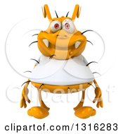 Clipart Of A 3d Yellow Germ Wearing A White Tee Shirt Royalty Free Illustration