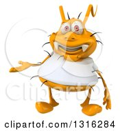 Clipart Of A 3d Yellow Germ Wearing A White Tee Shirt Presenting Royalty Free Illustration