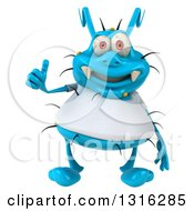 Clipart Of A 3d Blue Germ Virus Wearing A White T Shirt And Giving A Thumb Up Royalty Free Illustration