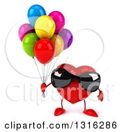 Clipart Of A 3d Heart Character Wearing Sunglasses And Holding Party Balloons Royalty Free Illustration