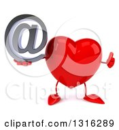 Clipart Of A 3d Heart Character Giving A Thumb Up And Holding An Email Arobase At Symbol Royalty Free Illustration