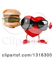 Clipart Of A 3d Heart Character Wearing Sunglasses Giving A Thumb Up And Holding A Double Cheeseburger Royalty Free Illustration