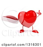 Clipart Of A 3d Heart Character Holding Up A Beef Steak And A Finger Royalty Free Illustration