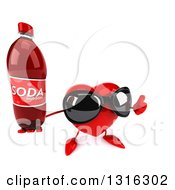 Clipart Of A 3d Heart Character Wearing Sunglasses Holding Up A Thumb And A Soda Bottle Royalty Free Illustration