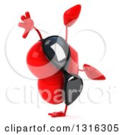 Clipart Of A 3d Heart Character Wearing Sunglasses Facing Right And Cartwheeling Royalty Free Illustration