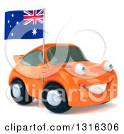 Clipart Of A 3d Orange Porche Car Facing Slightly Right And Holding An Australia Flag Royalty Free Illustration