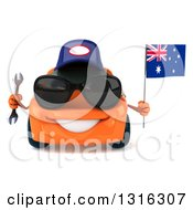 Clipart Of A 3d Orange Mechanic Porche Car Wearing Sunglasses Holding A Wrench And Australia Flag Royalty Free Illustration