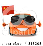 Clipart Of A 3d Orange Porsche Car Wearing Sunglasses Holding A Thumb Up And A Chinese Flag Royalty Free Illustration