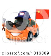 Clipart Of A 3d Orange Porsche Mechanic Car Wearing Sunglasses Facing Slightly Left Holding A Wrench And A Chinese Flag Royalty Free Illustration