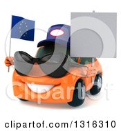 Clipart Of A 3d Orange Mechanic Porsche Car Wearing Sunglasses Facing Slightly Left Holding A Blank Sign And European Flag Royalty Free Illustration