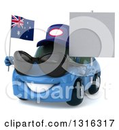 Clipart Of A 3d Blue Mechanic Porche Car Wearing Sunglasses Facing Slightly Left And Holding A Blank Sign And Australia Flag Royalty Free Illustration by Julos