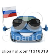 Clipart Of A 3d Blue Porsche Car Wearing Sunglasses Holding A Thumb Up And Russian Flag Royalty Free Illustration by Julos