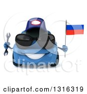 Clipart Of A 3d Blue Porsche Mechanic Car Wearing Sunglasses Holding A Wrench And Russian Flag Royalty Free Illustration by Julos
