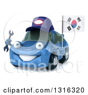 Clipart Of A 3d Happy Blue Porsche Car Mechanic Facing Slightly Left Holding A Wrench And South Korean Flag Royalty Free Illustration by Julos
