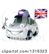 Clipart Of A 3d White Porsche Car Mechanic Facing Slightly Left Holding A Wrench And British Flag Royalty Free Illustration