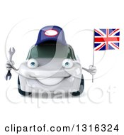 Clipart Of A 3d White Porsche Car Mechanic Holding A Wrench And British Flag Royalty Free Illustration