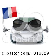 Clipart Of A 3d White Porsche Car Wearing Sunglasses Holding A Thumb Up And French Flag Royalty Free Illustration by Julos