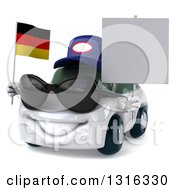 Clipart Of A 3d White Mechanic Porsche Car Wearing Sunglasses Facing Slightly Left Holding A Blank Sign And German Flag Royalty Free Illustration