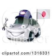 Clipart Of A 3d White Porsche Mechanic Car Facing Slightly Left Holding A Wrench And A Japanese Flag Royalty Free Illustration by Julos