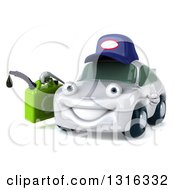 Clipart Of A 3d White Porsche Car Mechanic Character Facing Slightly Right And Holding A Gas Can Royalty Free Illustration