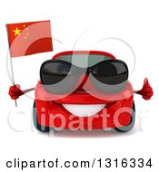 Clipart Of A 3d Red Porsche Car Wearing Sunglasses Holding A Thumb Up And A Chinese Flag Royalty Free Illustration