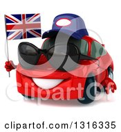 Clipart Of A 3d Red Porsche Car Mechanic Wearing Sunglasses Facing Slightly Left And Holding British Flag Royalty Free Illustration