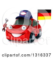 Clipart Of A 3d Red Mechanic Porsche Car Facing Slightly Left Holding A Wrench And German Flag Royalty Free Illustration