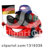 Clipart Of A 3d Red Mechanic Porsche Car Facing Slightly Left Wearing Sunglasses And Holding A German Flag Royalty Free Illustration