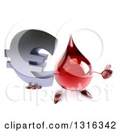 Clipart Of A 3d Hot Water Or Blood Drop Character Holding Up A Thumb And A Euro Symbol Royalty Free Illustration