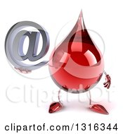Clipart Of A 3d Hot Water Or Blood Drop Character Holding An Email Arobase At Symbol Royalty Free Illustration
