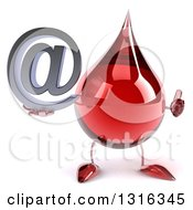 Clipart Of A 3d Hot Water Or Blood Drop Character Holding A Thumb Up And An Email Arobase At Symbol Royalty Free Illustration