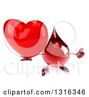 Clipart Of A 3d Hot Water Or Blood Drop Character Holding Up A Heart And Thumb Royalty Free Illustration
