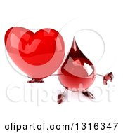 Clipart Of A 3d Hot Water Or Blood Drop Character Holding Up A Heart And Thumb Down Royalty Free Illustration