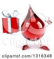 Clipart Of A 3d Hot Water Or Blood Drop Character Holding Up A Finger And A Gift Royalty Free Illustration