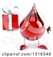 Clipart Of A 3d Hot Water Or Blood Drop Character Holding A Thumb Down And A Gift Royalty Free Illustration