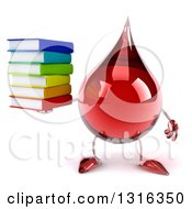 Clipart Of A 3d Hot Water Or Blood Drop Character Holding A Stack Of Books Royalty Free Illustration