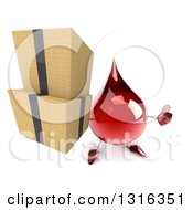 Clipart Of A 3d Hot Water Or Blood Drop Character Holding Up A Thumb And Boxes Royalty Free Illustration