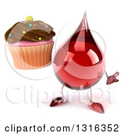 Clipart Of A 3d Hot Water Or Blood Drop Character Shrugging And Holding A Chocolate Frosted Cupcake Royalty Free Illustration