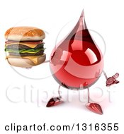 Clipart Of A 3d Hot Water Or Blood Drop Character Shrugging And Holding A Double Cheeseburger Royalty Free Illustration