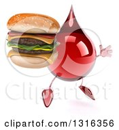 Clipart Of A 3d Hot Water Or Blood Drop Character Facing Slightly Right Jumping And Holding A Double Cheeseburger Royalty Free Illustration