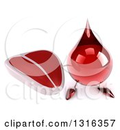 Clipart Of A 3d Hot Water Or Blood Drop Character Holding Up A Beef Steak Royalty Free Illustration