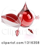 Clipart Of A 3d Hot Water Or Blood Drop Character Facing Slightly Right Jumping And Holding A Beef Steak Royalty Free Illustration by Julos