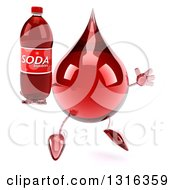 Clipart Of A 3d Hot Water Or Blood Drop Character Facing Slightly Right Jumping And Holding A Soda Bottle Royalty Free Illustration