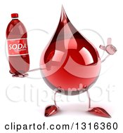 Clipart Of A 3d Hot Water Or Blood Drop Character Holding Up A Finger And A Soda Bottle Royalty Free Illustration by Julos