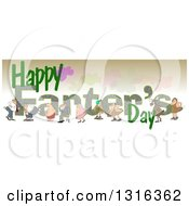 Clipart Of Cartoon People Passing Gass Over Happy Farters Day Text Royalty Free Illustration by djart