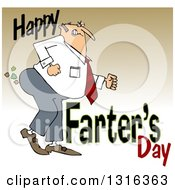 Cartoon Chubby White Father Passing Gas With Happy Farters Day Over Gradient