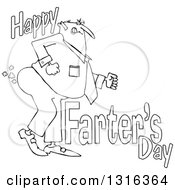 Lineart Clipart Of A Cartoon Chubby Father Passing Gas With Happy Farters Day Royalty Free Outline Vector Illustration by djart