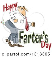 Clipart Of A Cartoon Chubby White Father Passing Gas With Happy Farters Day Royalty Free Vector Illustration