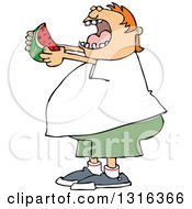 Cartoon Chubby Red Haired White Boy Ready To Devour A Watermelon