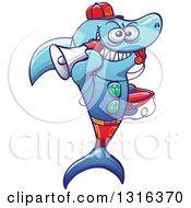 Clipart Of A Cartoon Baywatch Lifeguard Shark Blowing A Whistle Holding A Boogie Board And Megaphone Royalty Free Vector Illustration by Zooco